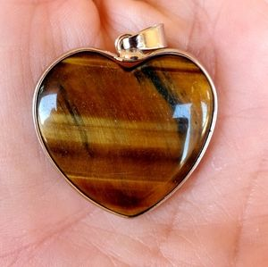 New Wrapped Yellow Tiger Eye Heart Shaped Pendant.